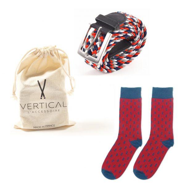 ceinture et chaussette made in france bleu blanc rouge