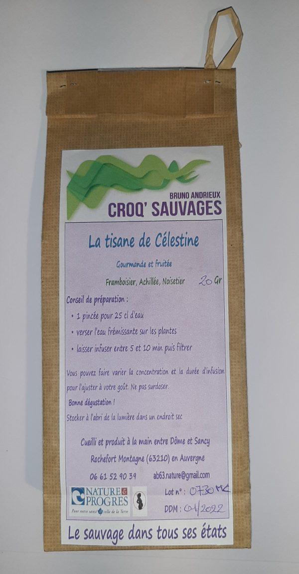 tisane mélange de plantes sauvages croqsauvage la tisane de celestine étiquette