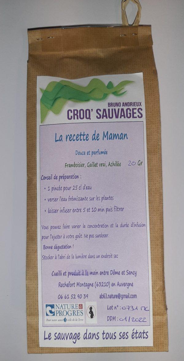 tisane mélange de plantes sauvages croqsauvage, recette de maman étiquette