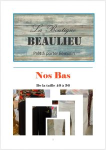 vêtement féminins bourges, beaulieu, bas, affiche catalogue