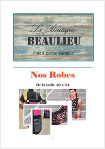 vêtement féminins bourges, beaulieu, robe, affiche catalogue